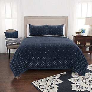 Velvet Giavonna Queen Quilt, Navy, large