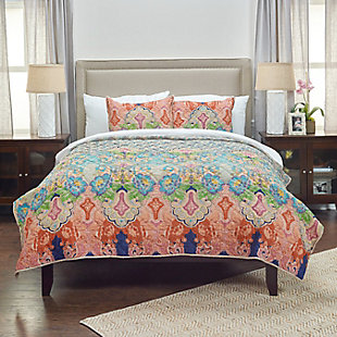 Cotton Rhapsodille Queen Quilt, Blue, rollover