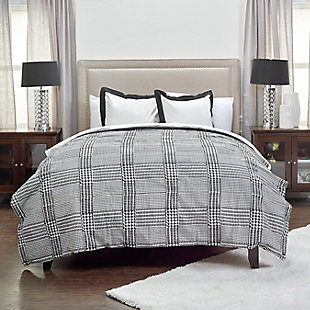 Cotton Houndstooth 2 Piece Twin Comforter Set, Black, rollover