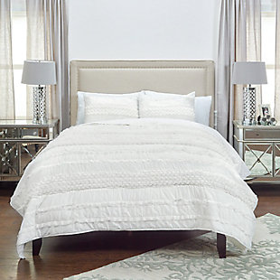 Cotton Georgette 2 Piece Twin Quilt Set, Ivory, rollover