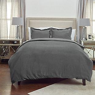 Linen Covington Queen Duvet, Charcoal, rollover