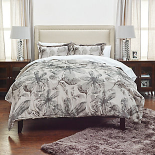 Cotton Lark 3 Piece Queen Comforter Set, Gray, rollover