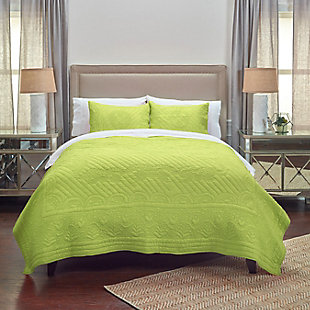 Cotton Voile Moroccan Fling Twin Quilt, Lime Green, rollover