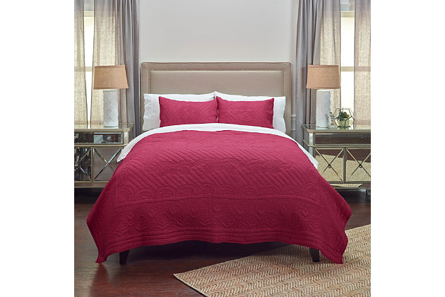 Cotton Voile Moroccan Fling King Quilt, Red, large