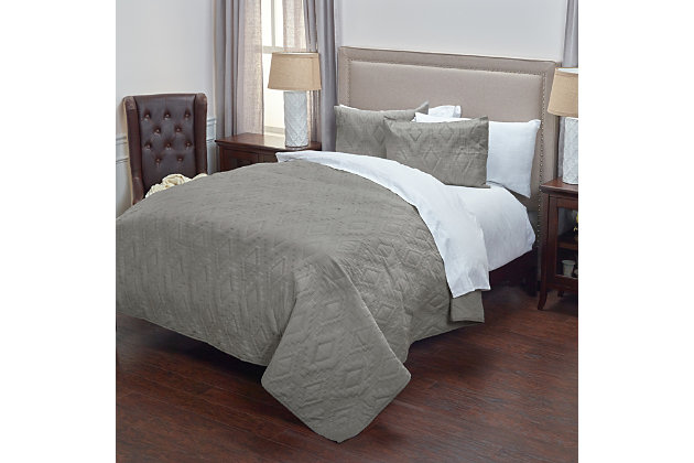Cotton Tapper Twin Quilt, Gray, large