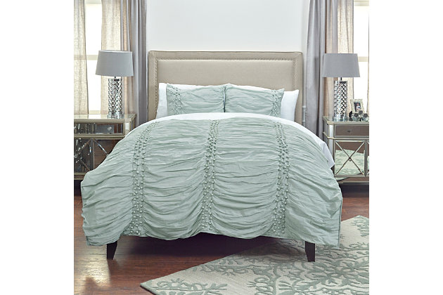 Cotton Chelsea Cane Queen Quilt, Blue, large