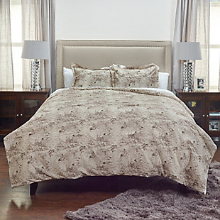 Cotton Vintage Butterfly 2 Piece Twin Comforter Set, Tan, rollover