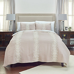 Cotton Adela Queen Quilt, Ivory, large