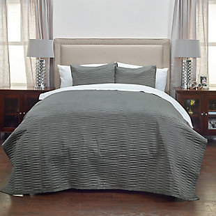 Polyester Parker Queen Quilt, Charcoal, rollover