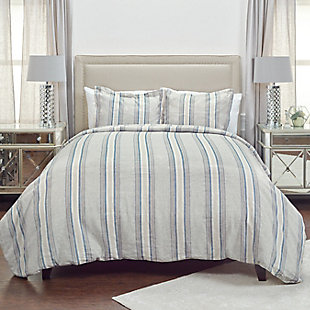 Linen Williamson Queen Duvet, Blue, rollover