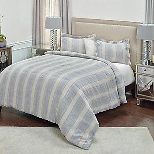 Linen Mackie Queen Duvet, Blue, large