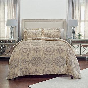 Cotton Elma 2 Piece Twin Duvet Set, Gray, large
