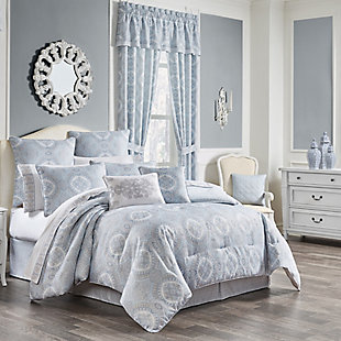 Royal Court Claremont 4-Piece Full Comforter Set, Blue, rollover