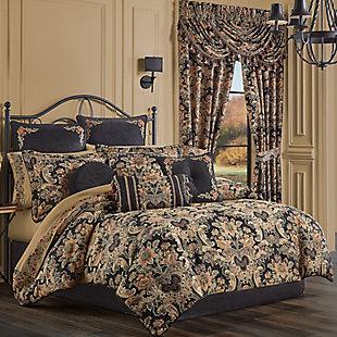 J. Queen New York Toscano 4-Piece Queen Comforter Set, Black, rollover