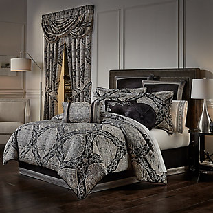J. Queen New York Vera 4-Piece King Comforter Set, Black, large