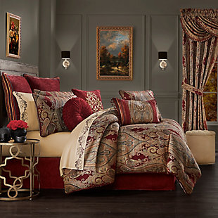 J. Queen New York Garnet 4-Piece Queen Comforter Set, Red, rollover