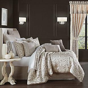 J. Queen New York Milan 4-Piece Queen Comforter Set, Oatmeal, rollover
