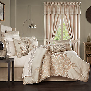 Five Queens Court Cresmont 4-Piece Queen Comforter Set, Gold, rollover