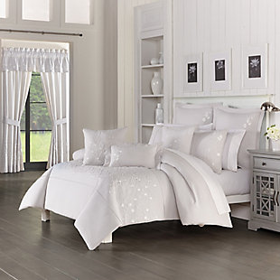 Piper & Wright Cherry Blossom 3-Piece Full/Queen Comforter Set, Gray, rollover