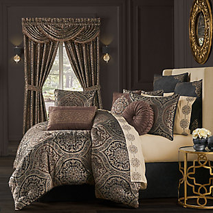 J. Queen New York Mahogany 4-Piece Queen Comforter Set, Chocolate, large