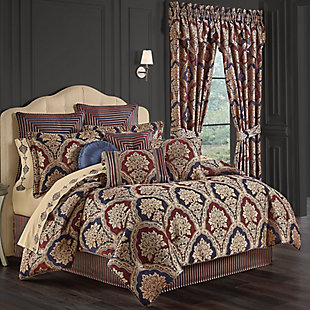 Five Queens Court Middleton 4-Piece Queen Comforter Set, Red, rollover