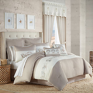 Royal Court Water's Edge 4-Piece Full Comforter Set, Natural, rollover