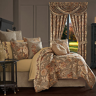 J. Queen New York Camellia 4-Piece Queen Comforter Set, Rust, rollover