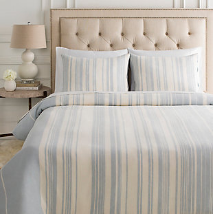 Surya Brighley 3-Piece Full/Queen Duvet Set, Blue/Beige, rollover