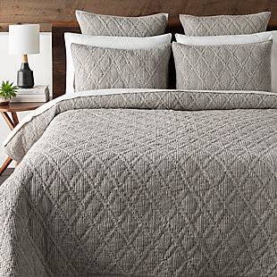 Surya Tulefield 3-Piece Full/Queen Duvet Set, Charcoal, rollover