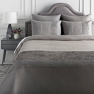 Surya Upperton 3-Piece Full/Queen Duvet Set, Charcoal, rollover