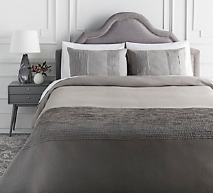 Surya Upperton 3-Piece Full/Queen Duvet Set, Charcoal, large