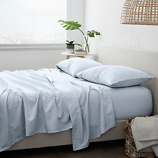 Home Collection Premium Ultra Soft 4-Piece King Bed Sheet Set, Light Blue, rollover