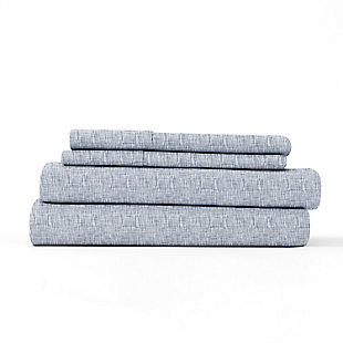 Home Collection Premium Ultra Soft Chambray Style Pattern 3-Piece Twin Bed Sheet Set, Light Blue, rollover