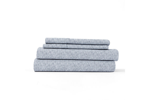 Home Collection Premium Ultra Soft Chambray Style Pattern 3-Piece Twin Bed Sheet Set, Light Blue, large