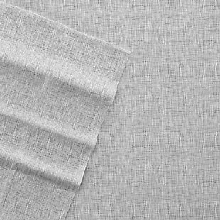 Home Collection Premium Ultra Soft Chambray Style Pattern 4-Piece King Bed Sheet Set, Ash Gray, large