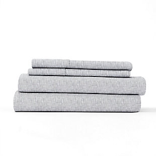 Home Collection Premium Ultra Soft Chambray Style Pattern 3-Piece Twin Bed Sheet Set, Ash Gray, rollover