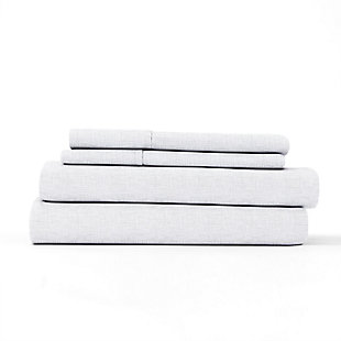 Home Collection Premium Ultra Soft Chambray Style Pattern 3-Piece Twin Bed Sheet Set, White, rollover
