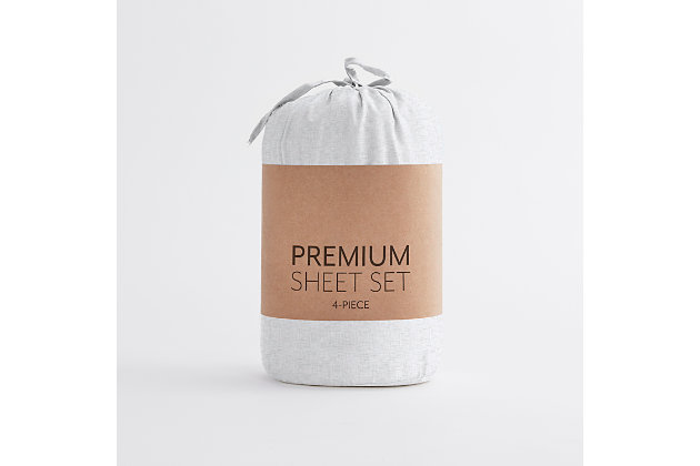 Home Collection Premium Ultra Soft Chambray Style Pattern 3-Piece Twin Bed Sheet Set, White, large