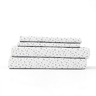 Home Collection Premium Ultra Soft Spotted Leaves Pattern 3-Piece Twin Bed Sheet Set, Ash Gray, rollover