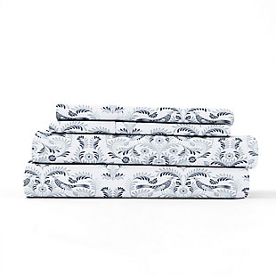 Home Collection Premium Ultra Soft Garden Estate Pattern 3-Piece Twin Bed Sheet Set, Navy, rollover