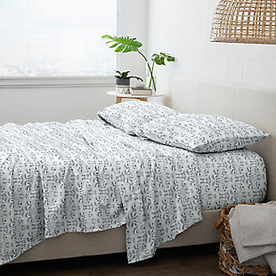 Home Collection Premium Ultra Soft Garden Estate Pattern 3-Piece Twin Bed Sheet Set, Navy, large