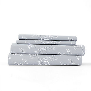 Home Collection Premium Ultra Soft Trellis Vine Pattern 3-Piece Twin Bed Sheet Set, Ash Gray, rollover