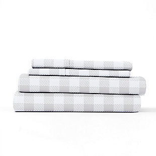 Home Collection Premium Ultra Soft Country Plaid Pattern 3-Piece Twin Bed Sheet Set, Ash Gray, rollover