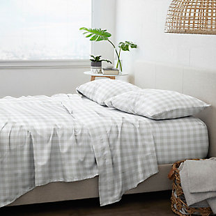 Home Collection Premium Ultra Soft Country Plaid Pattern 3-Piece Twin Bed Sheet Set, Ash Gray, large