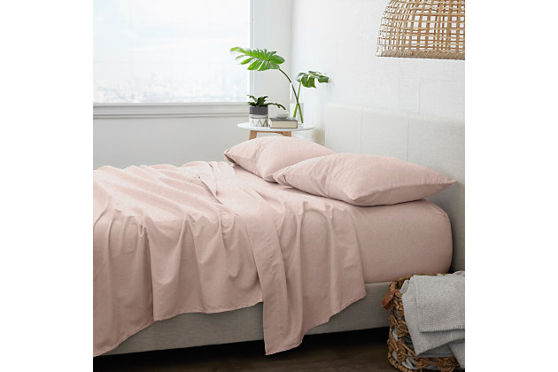 Home Collection Premium 4-Piece Ultra Soft Flannel King Bed Sheet Set, Blush, large