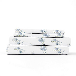 Home Collection Premium Rose Bunch 3-Piece Flannel Twin Bed Sheet Set, Light Blue, rollover