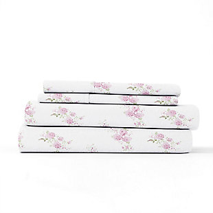 Home Collection Premium Rose Bunch 3-Piece Flannel Twin Bed Sheet Set, Pink, rollover