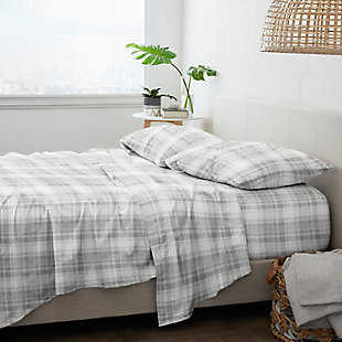 Home Collection Premium Plaid 3-Piece Flannel Twin Bed Sheet Set, Ash Gray, large