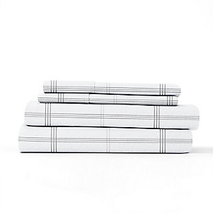 Home Collection Premium Checkered 3-Piece Flannel Twin Bed Sheet Set, Charcoal/White, rollover