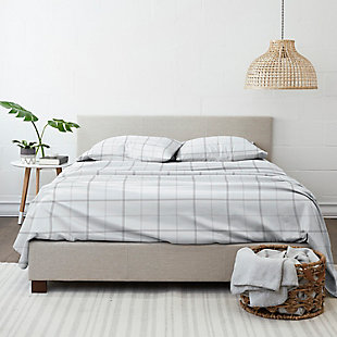 Home Collection Premium Checkered 3-Piece Flannel Twin Bed Sheet Set, Charcoal/White, large